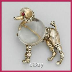 Vintage Crown TRIFARI Alfred Philippe Sterling Jelly Belly Poodle Dog Brooch Pin