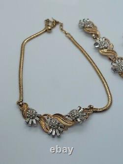 Vintage Crown Trifari Alfred Philippe Clear Rhinestone Flowers Necklace Bracelet