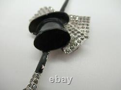 Vintage Crown Trifari Alfred Philippe Enamel Fur Dress Clip Top Hat, Gloves Cane