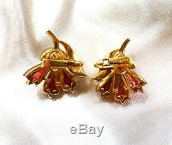 Vintage Crown Trifari Alfred Philippe Invisible Set Carnation Waffle Earrings
