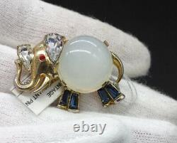 Vintage Crown Trifari Alfred Philippe Jelly Belly Elephant Brooch Pin WOW