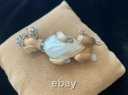 Vintage Crown Trifari Alfred Philippe MOP Jelly Belly Poodle Dog Figural Brooch