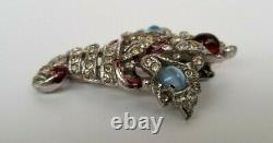 Vintage Crown Trifari Alfred Philippe Rhinestone Cornucopia Fur Clip Pin Brooch