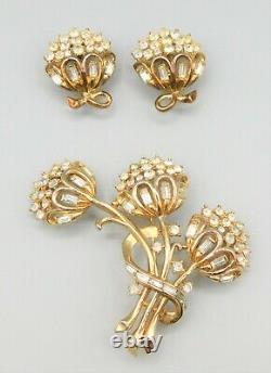Vintage Crown Trifari Alfred Philippe Rhinestone Flower Bouquet Pin Earrings Set