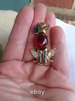 Vintage Crown Trifari Alfred Philippe Ruby Red Cab Rhinestone Figural Dog Pin