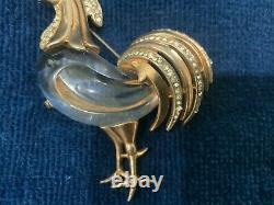 Vintage Crown Trifari Alfred Philippe Sterling Chanticleer Rooster Jelly Belly