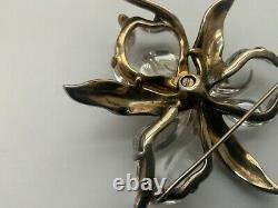Vintage Crown Trifari Alfred Philippe Sterling Orchid Pin Jelly Belly 1944