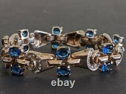 Vintage Crown Trifari Alfred Philippe Sterling Sapphire Blue Rhinestone Bracelet
