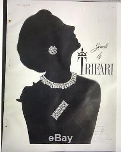 Vintage Crown Trifari Alfred Philippe Vanity Fair Baguette Rhinestone Necklace