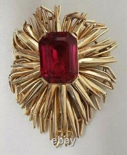 Vintage Crown Trifari Faux Ruby Starburst Brooch Alfred Philippe 60's