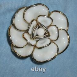Vintage Crown Trifari Milk Glass Rose Brooch & Clip Earrings Alfred Philippe