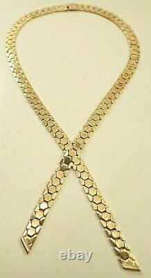Vintage Crown Trifari Signed Alfred Philippe Honeycomb Lariat Gold Tone Necklace