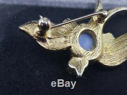Vintage Crown Trifari (signed) Alfred Philippe Blue Jelly Belly Bird Brooch/Pin