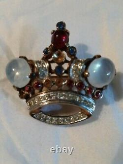 Vintage Signed Crown Trifari Coronation Crown Brooch Alfred Philippe 1944