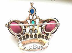 Vintage Sterling Silver 1940's Trifari Alfred Philippe Regal Crown Pin Brooch