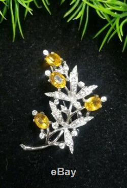 Vintage TRIFARI/Alfred PHILIPPE Sterling Sign FLOWER Pin Brooch Citrine Clear RS
