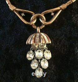 Vintage TRIFARI Alfred Philippe GRAPES DANGLE CHOKER NECKLACE Rhinestone 1950s