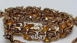 Vintage Trifari 1940s Alfred Philippe Yellow Rhinestone Necklace Bracelet Set