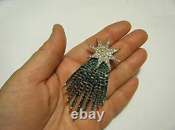 Vintage Trifari 1966 Fireworks Shooting Star Pin Alfred Philippe Green Clear RS