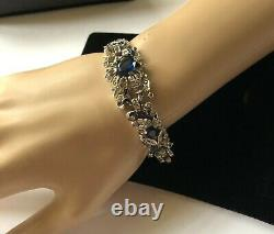 Vintage Trifari Alfred Philippe Bracelet Blue/Clear RS/Silver Tone Signed