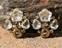 Vintage Trifari Alfred Philippe Carved Rock Crystal Floral Clip Gold Earrings