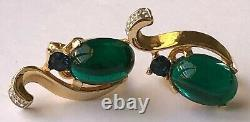 Vintage Trifari Alfred Philippe Earrings Jelly Belly Glass/RS/Gold Tone Signed