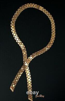 Vintage Trifari Alfred Philippe Golden Honeycomb Tassel Lariat Choker Necklace