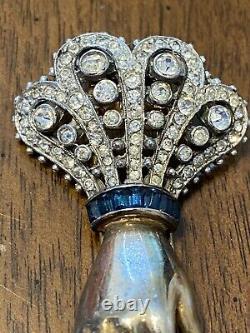 Vintage Trifari Alfred Philippe Hand Pin Clip Emerald & Sapphire Colors So Rare