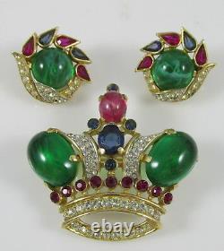 Vintage Trifari Alfred Philippe Jewels of India Crown Pin Brooch & Earrings Set