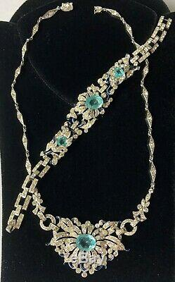 Vintage Trifari Alfred Philippe Necklace Bracelet SetGlass/RS/Enamel/Silvertone