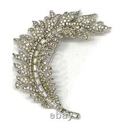 Vintage Trifari Alfred Philippe Pave Feather Pin Brooch Signed 2