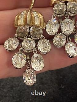 Vintage Trifari Alfred Philippe Rhinestone Dangle Brooch Matching Clip Earrings