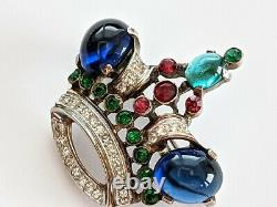 Vintage Trifari Alfred Philippe Sterling Jewel of India Rhinestone Crown Pin