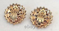 Vintage Trifari Clip Earrings 1949 Moghul Scherazade Alfred Philippe Gift Box