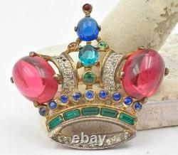 Vintage Trifari Crown Pin Alfred Philippe Cabochon Stones Sterling Silver