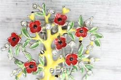 Vintage Trifari Fur Clip Brooch ALFRED Philippe 1942 Figural Bonsai Tree Enamel