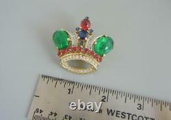 Vintage Trifari Royal Crown Pin Large 1 7/8 Alfred Philippe 1955-69