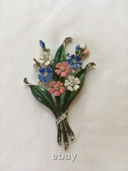 Vintage Trifari enameled floral bouquet furclip pin Alfred Philippe 1940