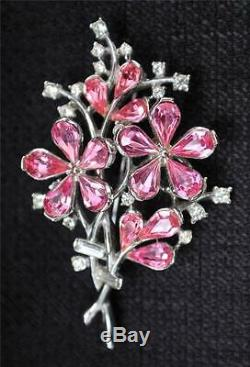 Vng TRIFARI Pat#169,105 Designer Alfred Philippe Pink Rhinestones FLOWER Brooch