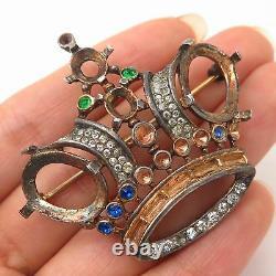 Vtg 1940s Trifari Alfred Philippe Sterling Silver Rhinestone Crown Pin Brooch
