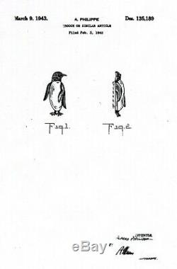 Vtg 1943 Trifari Sterling Pin Alfred Philippe Jelly Belly Penguin Brooch Patent