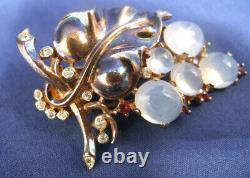 Vtg 1945 Trifari Sterling Pin Clip Alfred Philippe Grape Cluster Brooch Earrings