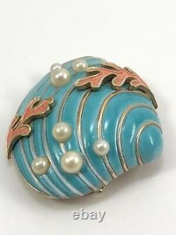 Vtg. 1964 CROWN TRIFARI Alfred Philippe Under The Sea Blue Enamel Clam Seashell