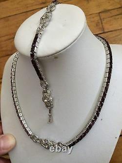 Vtg'40 TRIFARI Alfred Philippe art deco baguette pave bracelet necklace set