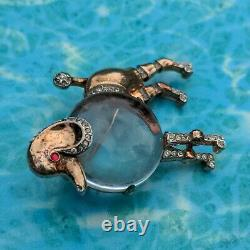 Vtg 40s Trifari Alfred Philippe Sterling & Clear Glass Jelly Belly Poodle Brooch