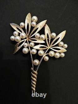 Vtg 50s Crown Trifari Alfred Philippe Faux Pearl Flowers Brooch Pin HUGE! RARE