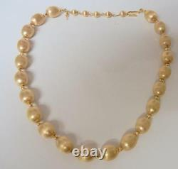 Vtg Alfred Philippe Crown Trifari Gold Plated Textured Chunky Beads Necklace