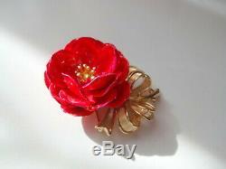 Vtg Alfred Philippe Crown Trifari Red Gold Tone Enamel Flower Poppy Pin Brooch