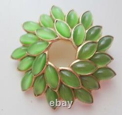 Vtg Crown Trifari Alfred Philippe Xmas Wreath Mogul Green Rhinestone Pin Brooch