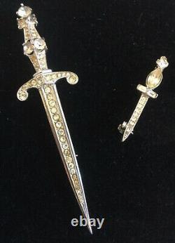 Vtg Lge TRIFARI STERLING SILVER RHINESTONE SWORD PIN ALFRED PHILIPPE 1940 +BONUS